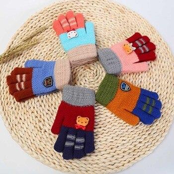 Winter Kids Baby Warm Gloves Cartoon Bear Children Knitted Patchwork Keep Warm Mittens Gloves Full Finger Gloves Hand Muff #FS5 rose