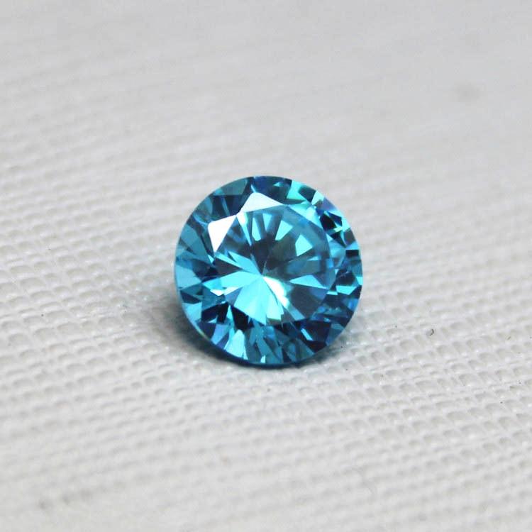 Round shape bright cut created aquamarine gemstone beads for Birthstone beads for jewelry making
