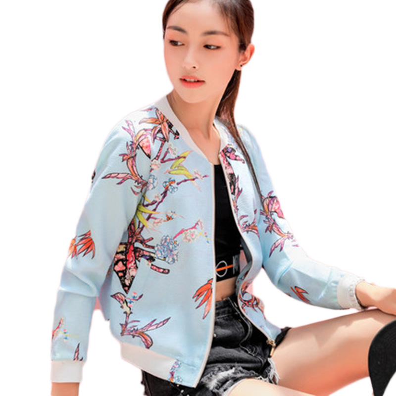basic     jackets   bomber   jacket   coat Women Flower Print long sleeve Baseball   jacket   women Harajuku   basic     jackets   Coat Streetwear