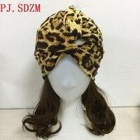 Leopard Bawełna Elastan Turban Sexy Podwójnego Przeznaczenia Pionowe Paski Krzyż Opaska Elastyczna Miękkie Hairbands Kobiety Street BandanFG0099