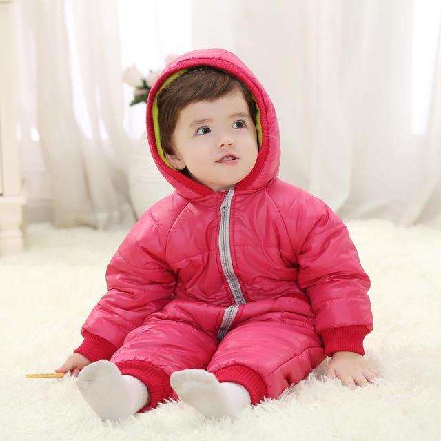 Mamelucos Del Bebé de Invierno Los Niños de Algodón Grueso Traje de bebé Ropa de Invierno Niñas Ropa de Abrigo Niño prendas de Vestir Exteriores Del Cabrito Del Mono de Mono Del Bebé