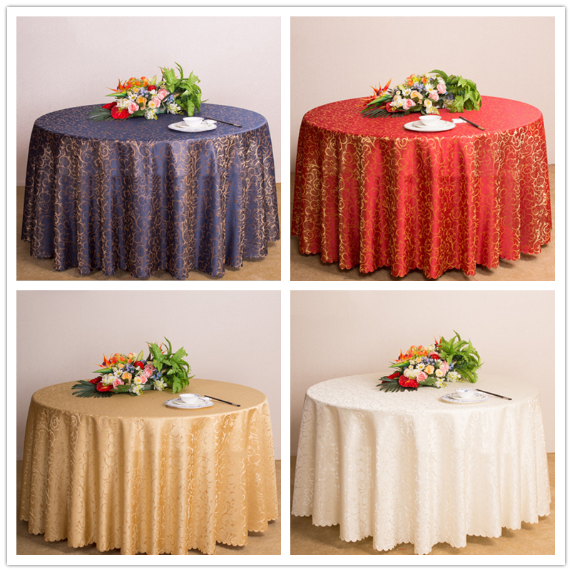New Classic Jacquard Floral Round Tablecloth Luxury Overlay Table Cover for Home Party Wedding Decoration