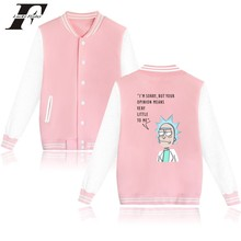 LUCKYFRIDAYF Rick And Morty Jacket Sweatshirt Winter Better Cotton Baseball Jacket Women Pink Casual Fashion High Quality Coat