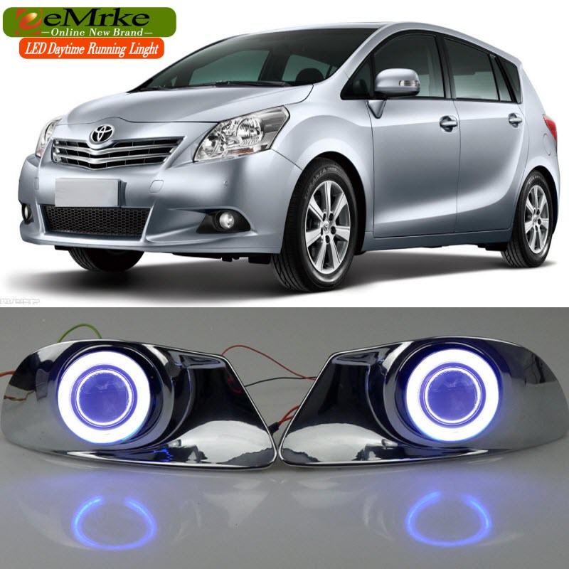 eeMrke For Toyota Verso Sportsvan COB LED Angel Eye Fog Lights DRL Daytime Running Lights Halogen Bulbs H11 55W Plating Cover