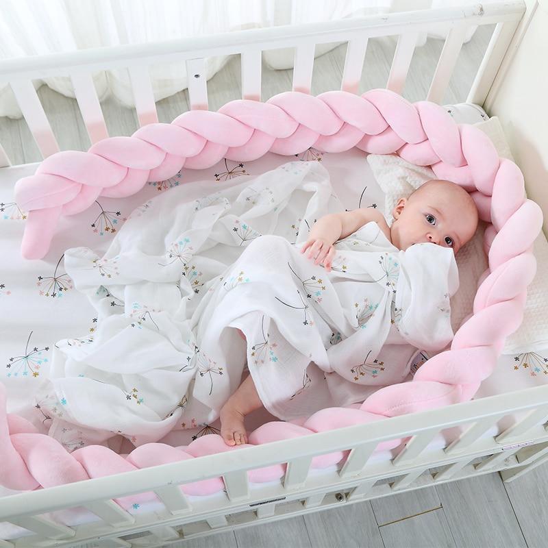 200 cm Longitud Baby Bed Bumper Pure Color Weaving Plush Baby Crib - Ropa de cama