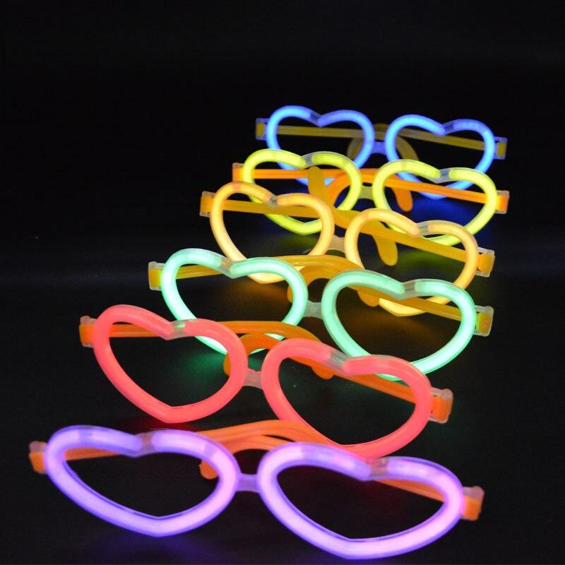 100pcs Party Luminous Glow Light Sticks Fluorescence Stick with 50pcs Plastic Heart Glasses Party Concerts Supplies