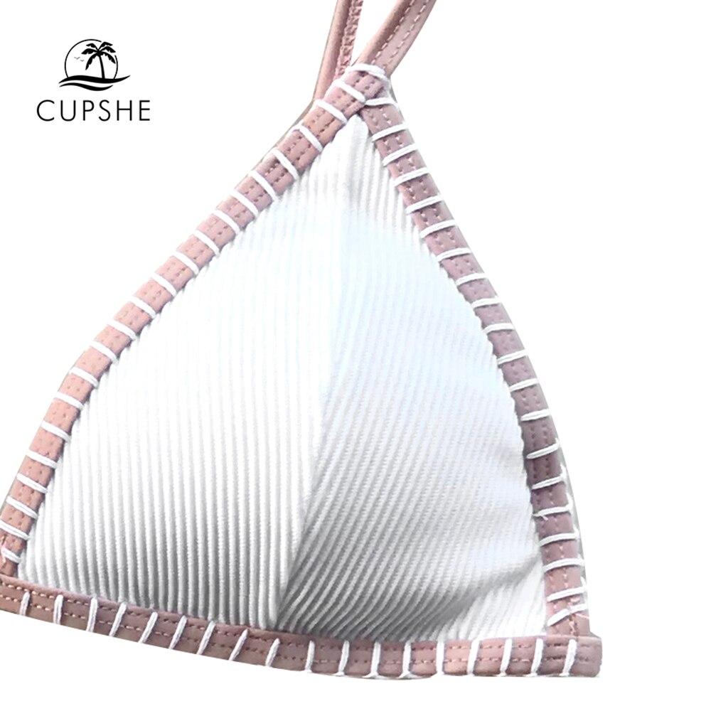 CUPSHE White Triangle Crochet Bikini Set Women Sexy Thong Bikini Two Pieces Swimwear 2020 Girl Beach Bathing Suit Swimsuits 2
