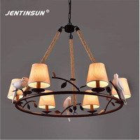 American Village Retro Loft Iron Birds Pendant Light Vintage Hemp Rope LED Hanging Lamp For Restaurant