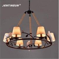 American Village Retro Loft Iron Birds Pendant Light Vintage Hemp Rope LED Hanging Lamp For Restaurant