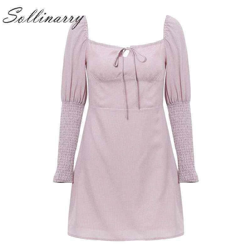 Sollinarry клетчатое винтажное платье с высокой талией женское с буфами рукав твист осенние короткие вечерние платья женские зимние повседневные платья со шнуровкой