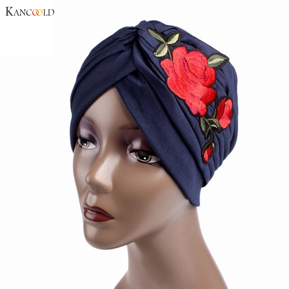 Women Hat Beanie Scarf Turban Head Wrap 2017 Embroidery Muslim cap mujer Hats for Women Keep Warm caps Cancer Chemo Beanies JY4A chsdcsi pleuche women turban caps twist dome caps head wrap europe style india hats womens beanies skullies for fall and spring