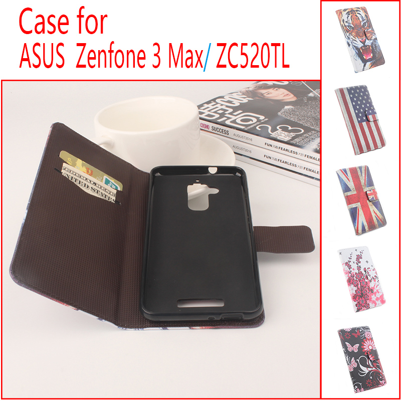 655a8960e76a Кожаный бумажник Стенд Флип карт памяти телефона чехол для Asus Zenfone 3  MAX/ZC520TL 3D с изображением тигра цветы флаг