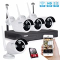 Tmezon HD 4CH NVR Wireless WIFI Security Surveillance System 4Pcs 1.3MP 960P Camera ONVIF IR Night Vision Waterproof 1TB 2TB Kit