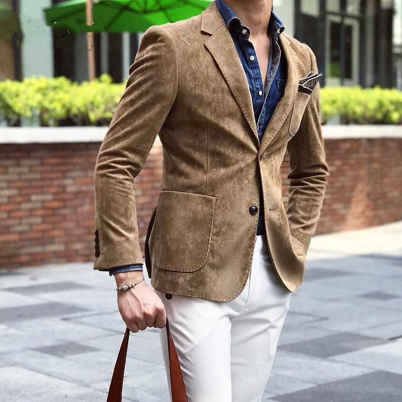 Suede Blazer Men Slim Fit 2 Button Blazer Men 2019 Autumn Winter Chaqueta Hombre Formal Mens Stylish Blazer Xadrez Masculino 4xl 1