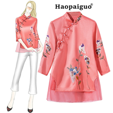 цены Chinese Style Solid Female Embroidery Floral Linen Short Sleeve Shirt Women's Mandarin Collar Blouse Novelty Button Tops S -XXL