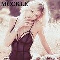MCCKLE Женщины тела костюмы для женщин 2017 Лето Ремень Sexy Глубокий V Шеи Комбинезон Черный Комбинезон Дамы Кнопку спинки Боди