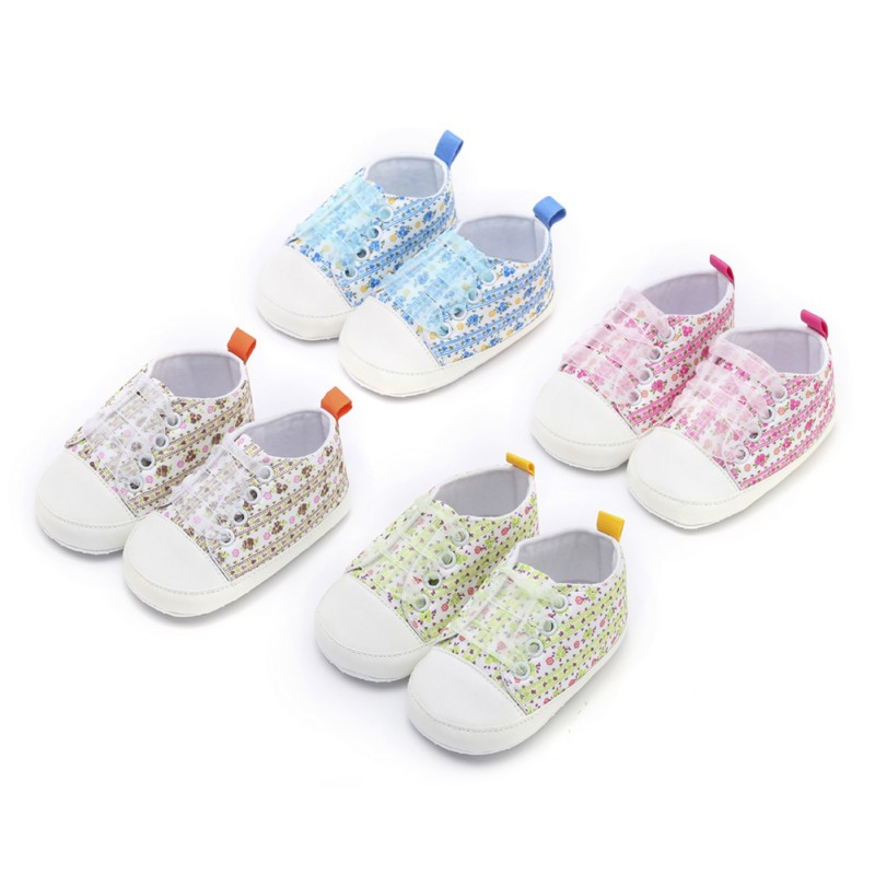 2018 Newborn Lace Embroidery Shoes Baby Girls First Walkers Toddler Bow Flower  Baby Girl Soft Sole Shoes