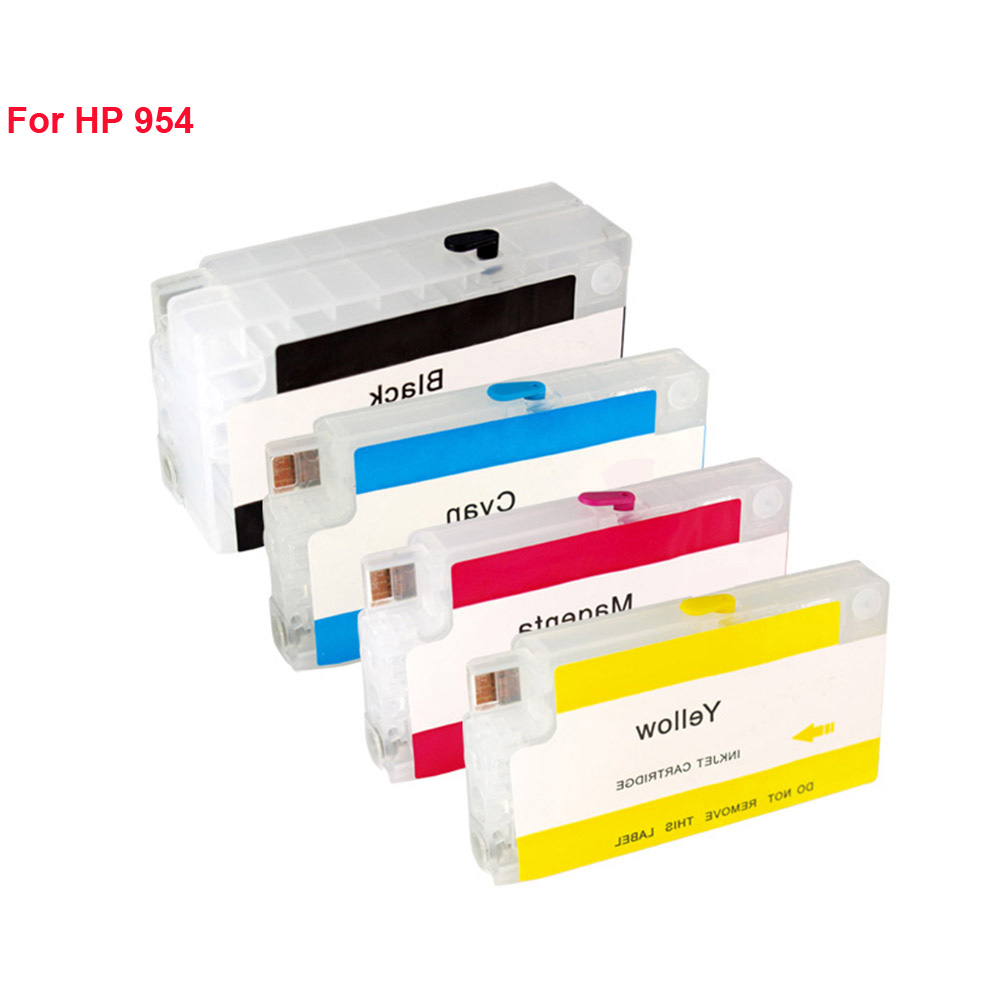 Replacemet 4Colors For HP 954 Empty Refillable Ink Cartridge With ARC Chip For HP OfficeJet Pro 7740 8210 8710 8720 8730 Printer 11colors 200ml empty ink cartridge with ink bag for epson stylus photo 4900 printer with arc chip