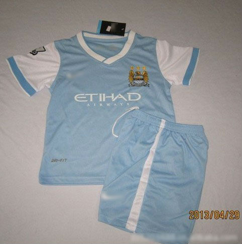 Free shipping 2013-14 season MAC kids soccer uniform/light blue children football jersey suit