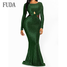 FUDA Women Autumn Long Sleeve Bodycon Flool-length Dress Elegant Party Femme Clothing Sexy Hollow Out Vintage Vestidos
