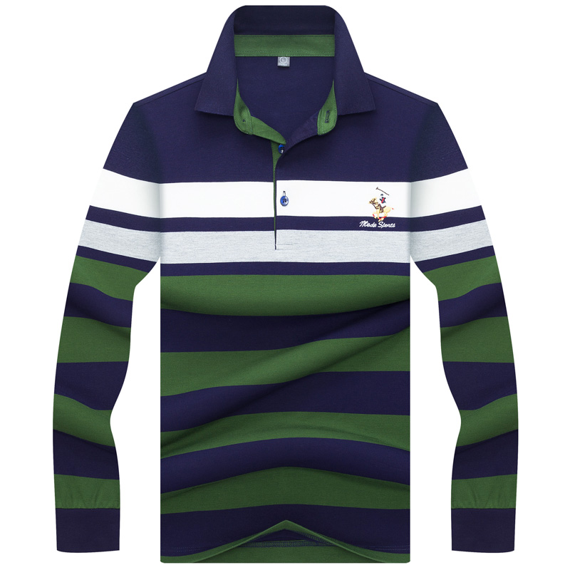 New Brand   Polo   Shirt Men High Quality Long Sleeve Striped Casual & Business   Polo   shirt 3D Embroidery camisa masculina