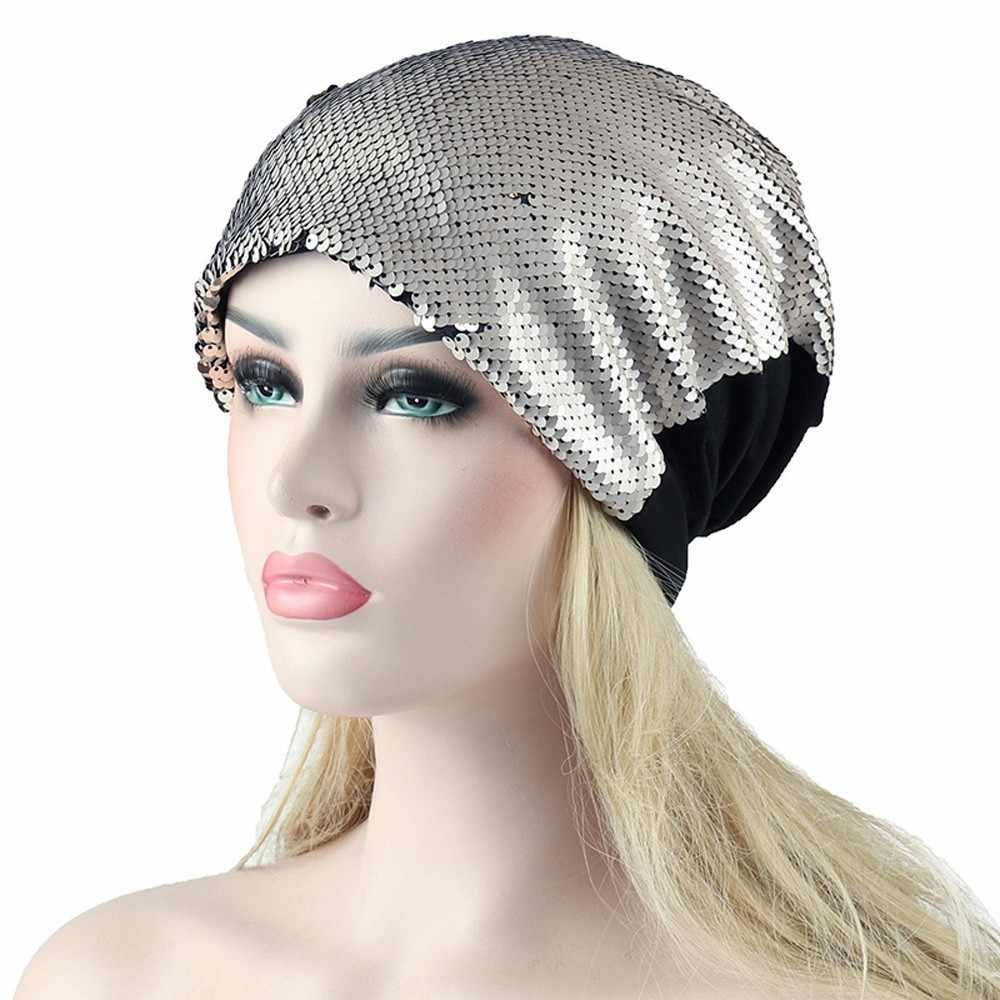 c94881686cc Detail Feedback Questions about Winter Brand Female Caps Women Soild India  Muslim Stretch Turban Hat Sequins Hair Loss Head Scarf Wrap Ladies Casual  Cap ...