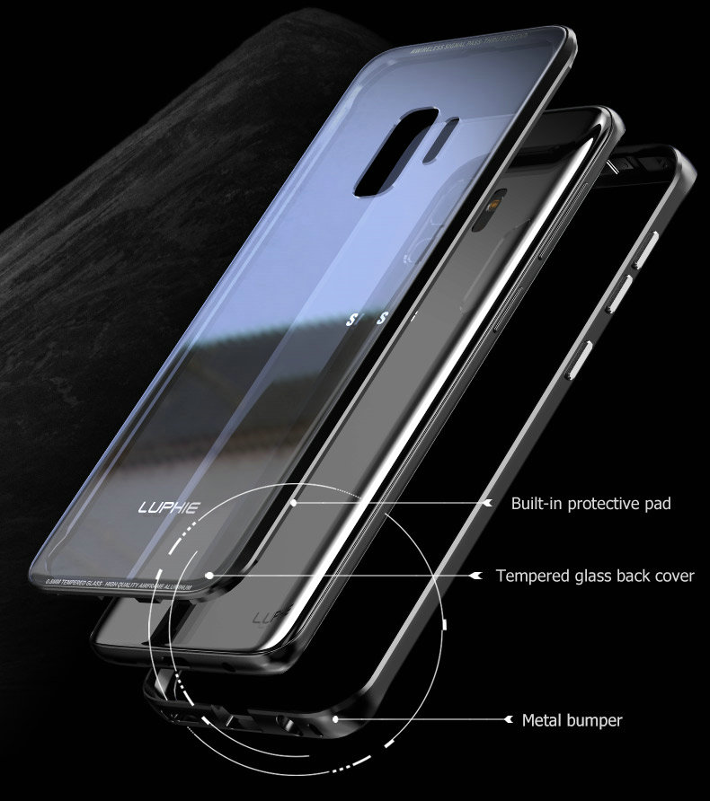 LUPHIE Luxury clear glass cover For Samsung Galaxy S9 S8 Plus Metal Bumper (5)