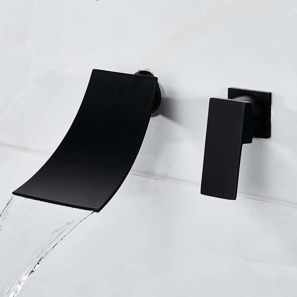 Robinet de salle de bain noir cascade robinet de lavabo dans le mur robinet d'eau mitigeur Double trou robinet de lavabo