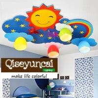 Qiseyuncai 2018 Sun rainbow children's room LED eye care ceiling lamp kindergarten boy girl bedroom Warm smile lighting