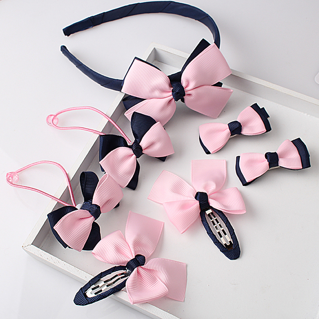 H MISM 1set=7pcs Children Accessories Hairband Hairpins Gum for Hair Baby Girls Lovely Bow Headwear Hair clip Headband