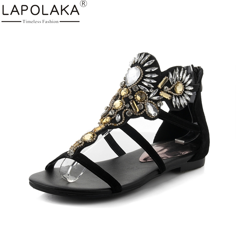 LAPOLAKA New Fashion Genuine Leather Zip Crystal Solid Brand Design Shoes Woman Casual Outside Summer Sandals Big Size 33-40 lapolaka new women s genuine leather square med heels ankle strap solid shoes woman casual summer sandals big size 33 40