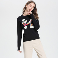 2019 Women's Sweaters Lamb Embroidery Sequin Knitted Pullover O neck Autumn&Winter Knitwear Ladies Korean Jumper Woman