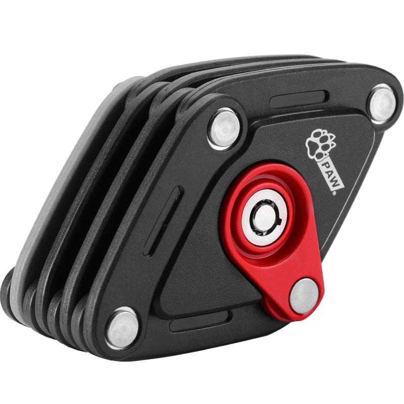 PAW PW0902 Bicycle Lock W Bracket Mount on Bike Convenient Pocket Storage Foldable Easy Use Key