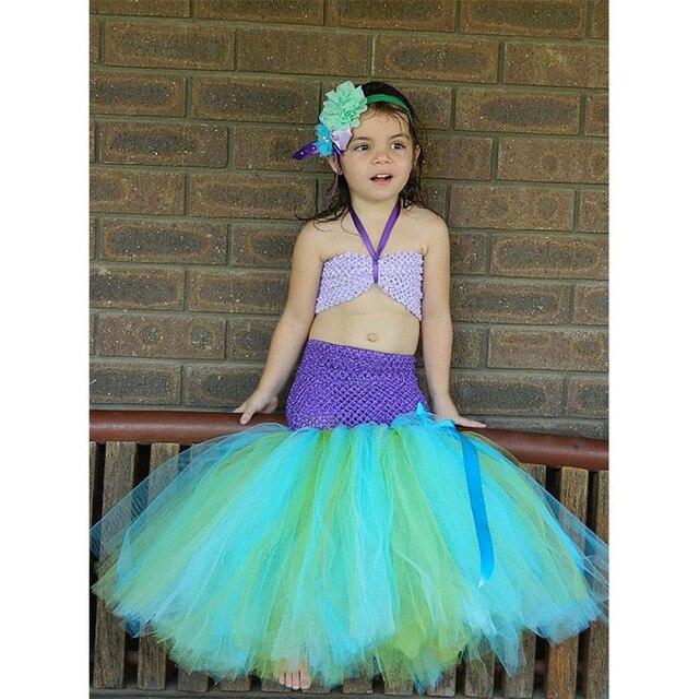 2ab6b0592 Sirena Niñas Tutu vestido princesa Ariel Niñas niños tulle vestido con  diadema de flores traje bajo