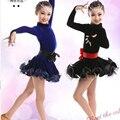 Preto de Alta Qualidade Crianças Dança Latina Vestido Da Menina Elegante Vestido de Renda Manga Longa Dança Latina Crianças Traje Salsa