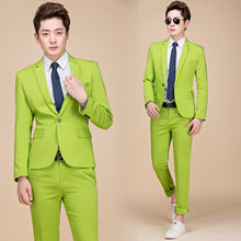 M-5XL Tide Men Colorful Fashion Wedding Suits Plus Size Yellow Pink Green Blue Purple Suits Jacket and Pants Tuxedos(China)