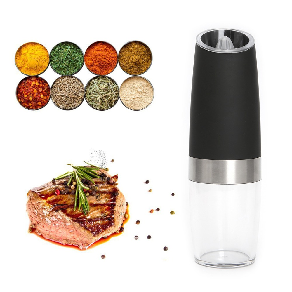 OOTDTY Automatic Electric Gravity Pepper Grinder Tool Stainless Steel Friction-resistant Blue LED Light Kitchen Tool 19.5x5cm
