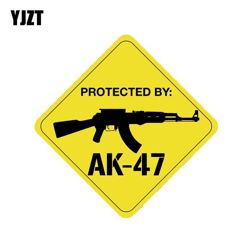 YJZT 13.9CM*13.9CM Protected By AK47 Gun PVC Decal Car Sticker 12-0786
