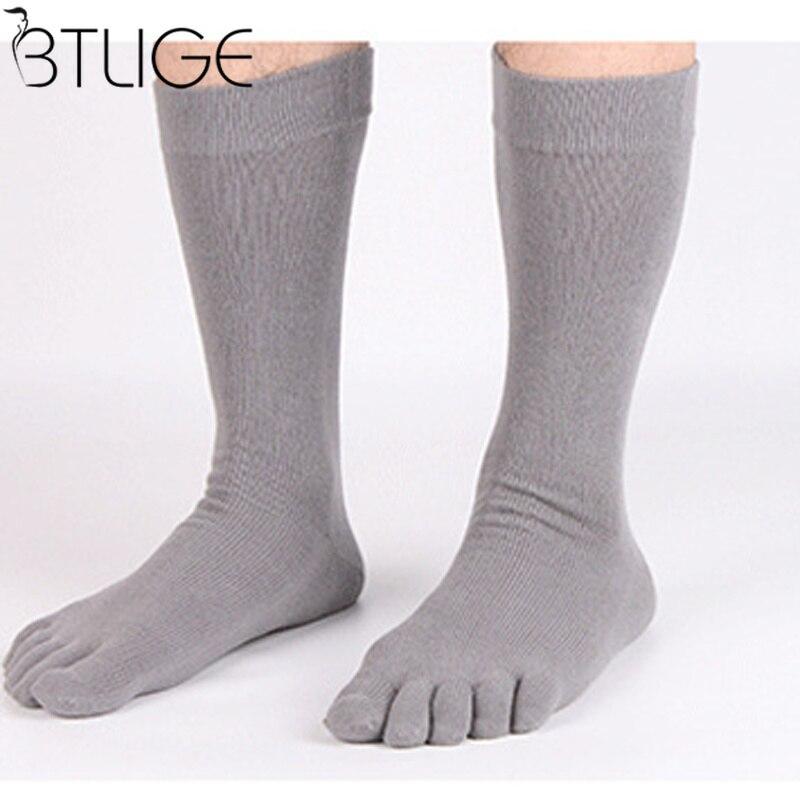 Men Five Finger Toe Socks Elastic Men's Business Dress Breathable Soild Cotton Long Sox High Quality Crew Socks Running