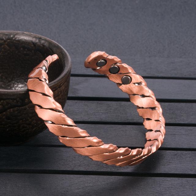 Vintage Twisted Open Cuff Bangle Health Energy Coppper Bracelet