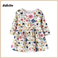 2017 Nacolleo Flower Print Summer Long Sleeve Pleated Kids Clothes Toddler Girls Fashion Party Floral Casual Dress for 2- 6 Y