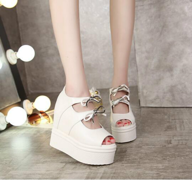 Korean version of the increase in high shoes Bows with thick bottom slope with shoes The
