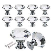 Perillas de puerta de cristal de 16 uds, manija de tracción transparente, aleación de Zinc con tornillo para mueble de gabinete con cajones, decoración para el hogar
