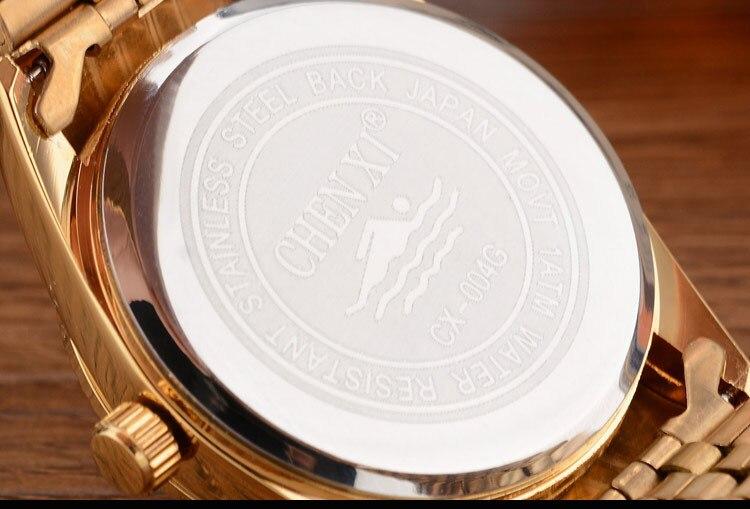 CHENXI Brand Top Luxury Ladies Gold Watch Women Golden Clock Female Women Dress Rhinestone Quartz Waterproof Watches Feminine 16