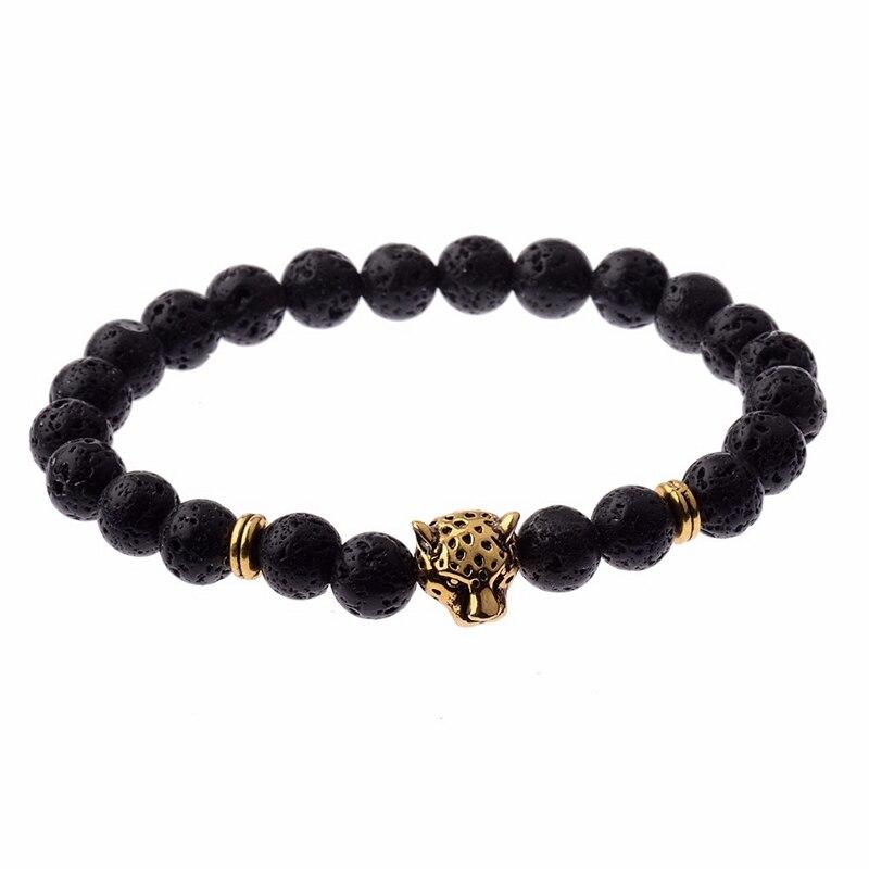 Bohemian Style Golden Leopard Head Bead 8MM Natural Lava Stone Healing Balanced Yoga Braided Macrame Bracelets Jewelry AB127