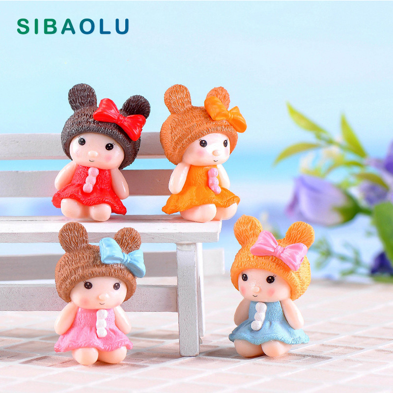 1pc Bear Hat Girls figures Cartoon Character Miniature Figurine Anime garden Cake Decoration action model doll DIY accessories