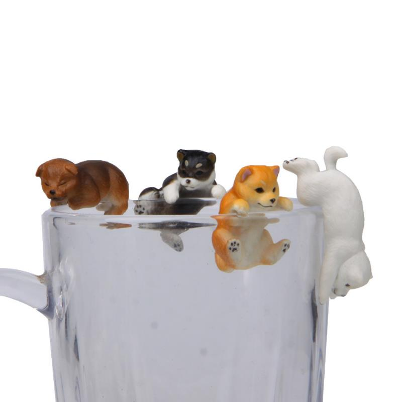 1pc New Cute Cartoon Cosplay Toys Animal Dog Cat The Edge Of Cup Action Figure Doll Collection Model Toy Doll Gift