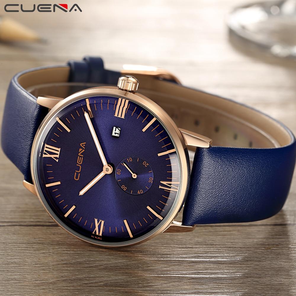 CUENA Meeste Kellade Nahakell Quartz Watch Lihtne Dial Mature Fashion - Meeste käekellad - Foto 3