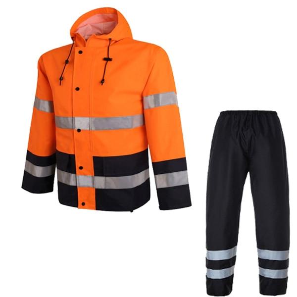 Men Women Rain Suit Reflective Safety Waterproof Full Body Jacket/&Pants Orange