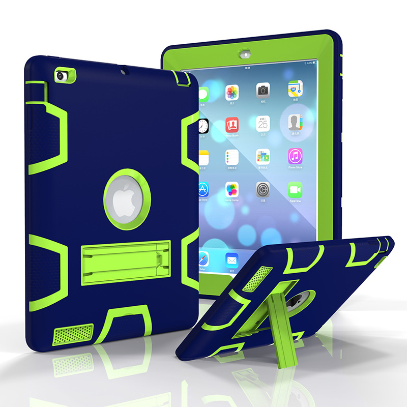 For Apple ipad 2 3 4 Hybrid Heavy Duty Armor Kid Safe Case 360 Degree Protection Shockproof Dustproof Stand Cover For ipad Air 2 for funda ipad air 2 case heavy duty pc rugged impact hybrid stand cover cases for ipad air2 ipad 6 shockproof kid case capa